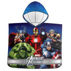 Superflot Marvel Avengers badeponcho i hurtigttørrende mikrofiber.