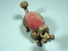 Vintage Florenza Metal Poodle Nodder With RED Rhinestone Eyes Pink PIN Cushion | eBay