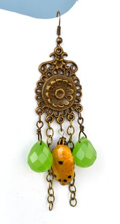 Yellow Beetle Earrings by myNaturesDESIGN on Etsy, $68.00