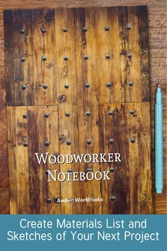 Plan your next woodworking project with the help of this note book, with a materials list and special pages for sketches to flesh out your ideas. Woodworking Journal, Woodworking Ideas, Project Planner, Sketch Design, The Help, This Book, Notebook, Sketches, How To Plan