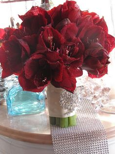 Red Amaryllis Bouquet- Roses are Classic but Amaryllis will make a statement.