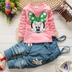New Kids Baby Girls Long Sleeve T-shirt + Denim Pants Outfit pink Baby Outfits, Toddler Girl Outfits, Baby & Toddler Clothing, Kids Outfits, Casual Outfits, Children Clothing, Clothing Sets, Toddler Girls, Baby Girls