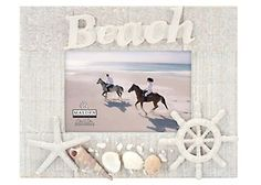 This Malden 4'' x 6'' Beach Shell Frame features a textured wood white washed frame with shells and nautical themed attachments along with the word Beach across the top. Easel back frame measures 9.8'' W x 1'' D x 7.5'' H and holds one 4'' x 6'' horizontal photo.