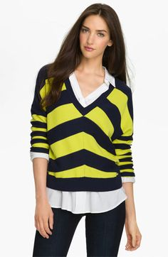 who has 2 sleeves and is a HUFFLEPUFF?  Caslon® V-Neck Chevron Stripe Sweater | Nordstrom