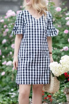 Crew Factory Tie Seeve Dress in Gingham - -J. Crew Factory Tie Seeve Dress in Gingham - - Simple Dresses, Cute Dresses, Casual Dresses, Fashion Dresses, Short Sleeve Dresses, Summer Dresses, Dresses Dresses, Petite Fashion, Runway Fashion