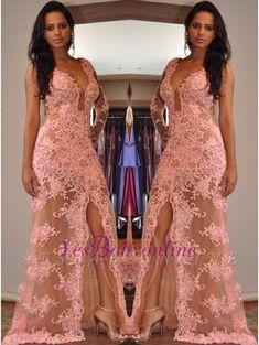 7c20f6082a Tulle Appliques Sexy Front-Split One-Shoulder V-Neck Prom Dress. Madrinhas  De CasamentoVestido De FestaRoupasVestidos ...