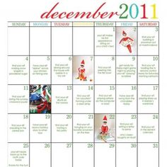 Elf on a Shelf Printable Calendar - #printable #christmas