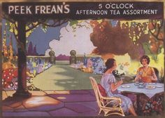 Peek Frean's 5 O'Clock Afternoon Tea Assortment biscuits (cookies) ad depicting women enjoying afternoon tea outdoors, c. 1910