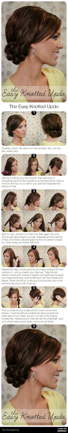 The Easy Knotted Updo Hair Tutorial # types of Braids articles Hochzeit Frisuren - Brides Mit Sass Hair Styles Up Hairstyles, Pretty Hairstyles, Wedding Hairstyles, Summer Hairstyles, Wedding Updo, Braided Hairstyles, Coiffure Hair, Corte Y Color, Elegant Updo