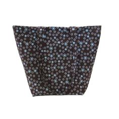 Atomic Starburst Tote Bag, Brown Cloth Purse has Blue Circles and Retro Stars on a Dark Brown Background.   This Handmade Handbag is fully lined in Dark Brown, has 5 Blue slip type pockets, 2 Handles that match the outside fabric  a Magnetic Snap Closure.   I use thick fleece interfacing, sandwiched between the lining  outer fabrics to add stability  durability to this fabric tote bag. This is the perfect size for an everyday purse, book bag, tote bag, craft bag, dance bag, shoulder bag…
