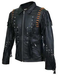 Men Black Western Fringes with Roundhead studs and brown beads Spiked Leather Jacket, Long Leather Coat, Leather Jacket With Hood, Leather Skin, Black Leather, Cow Leather, Best Leather Jackets, Alter, Jackets For Women