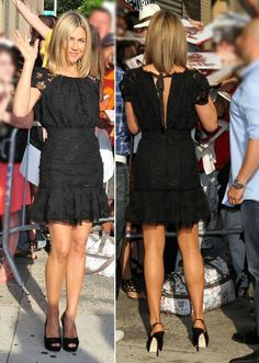 Black lace Nina Ricci dress outside of The Daily Show with Jon Stewart in July 2011.
