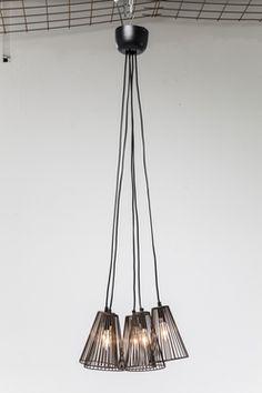 Pendant Lamp Grid Black Quattro 5-lite
