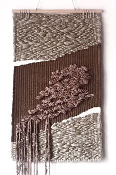 Modern woven piece of art. Earthy tones, unique and textured design. Worldwide shipping from Poland. Happy Mom, Weaving Art, Woven Wall Hanging, Textile Art, Earthy, Wall Art Decor, Poland, Bb, Art Pieces