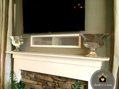 abode love: a man's home is his wife's castle: component cover up Hide Tv Wires, Tv Cords, Hiding Cords, Hide Cable Box, Hide Cables, Tv Cable, Above Fireplace Ideas, Fireplace Mantle, Mantle Ideas