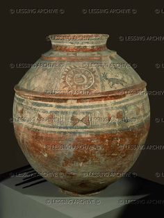 SUSA, IRAN VESSEL 3RD-2ND MILL.BC    Jug, with geometric ornaments and a sun with a double row of rays. From Susa,