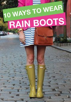 Check out these cool ways to wear rubber rain boots! Gosh I love wellies.