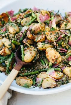 Roasted Potato Salad with French Lentils & Spring Vegetables - The First Mess French Potato Salad, Healthy Spring Recipes, French Lentils, Banting Recipes, Roasted Potatoes, Vegetable Sides, Food Items, Vegan Vegetarian, Vegetarian Recipes