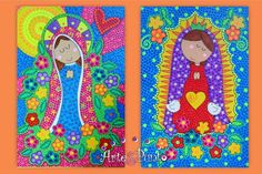 VIRGEN DE GUADALUPE EN PUNTILLISMO Madona, Arte Country, Country Paintings, Aboriginal Art, Pattern Illustration, Tole Painting, Applique Quilts, Craft Patterns, Religious Art