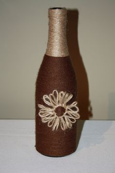 26 Custom Wrapped Wine Bottle with Twine and by DragonflyDaisies