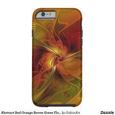 Abstract Red Orange Brown Green Flower Monogram Tough iPhone 6 Case