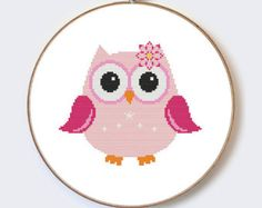 Owl In Hat on Branch modern cross stitch pattern  perfect for