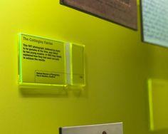 Green neon exhibit label