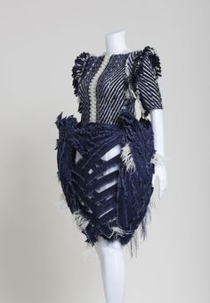 "Sculptural Fashion - wild hybrid creatures concept - 3D construct; wearable art; denim couture // ""woven bird"" by Mark Goldenberg"