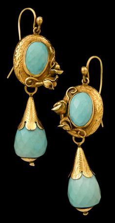 Yellow gold turquoise drop earrings Faceted turquoise within chased surround, double flower accent, with removable faceted turqouise bead drop, wire for pierced ears.