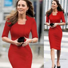 Oxiuly Dropshipping Fashion Women Square Collar Back Zipper Elegant Blue Stretchy Bodycon Knee-Length Wear to Work Career Dress Looks Kate Middleton, Estilo Kate Middleton, Kate Middleton Dress, Princess Kate Middleton, Kate Middleton Fashion, Blue Midi Dress, Dress Red, Chiffon Dress, Business Dresses