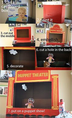DIY Muppets Puppet Theater. What a fun and creative thing for kids to play with inside and out of the heat. :)