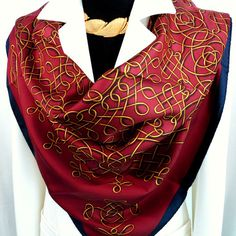 Authentic Vintage Hermes Silk Scarf Vinci Wine Red Colorway Early Issue