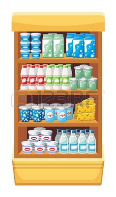 Supermercado productos l�cteos vector photo