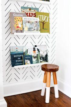 Scandinavian design nursery wallpaper. Boy Room Shelves. #tinylittlepads @tinylittlepads www.tinylittlepads.com