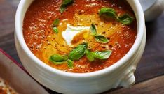 Jamie Oliver's Roasted tomato soup., Food And Drinks, Tomato soup with créme fraîche and basil - Jamie Olivers 30 minute meals. Soup Recipes, Vegetarian Recipes, Cooking Recipes, Healthy Recipes, Healthy Soup, Recipies, Roasted Tomato Soup, Roasted Tomatoes, Jamie Oliver 30 Minute Meals