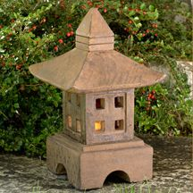 "Place this traditional Japanese stone garden lantern at the junction of paths, near a water basin, or at the edge of a pond or stream. 40 lbs., 18"" h"