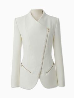 Choies Zipped Blazer In White dress and coat outfit