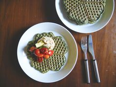 Stinging Nettle Waffles with hummus and roasted veg (VEGAN)