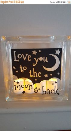 This glass block will be created when you place your order.  3 LED Votives are included with purchase.  These make great gifts for birthdays, Valentines Day, weddings or just because! Dimensions 7.5 x 7.5 x 3  Ships well wrapped and protected via Priority Mail.  Please message me with any questions or special requests