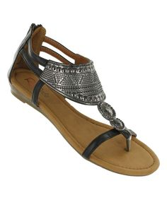 Love this Black Vania Embossed Sandal by Red Circle Footwear on #zulily! #zulilyfinds