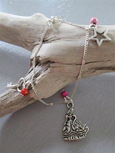 bracelet °princesse° argenté perles rose fuschia orange : Bracelet par les3filles