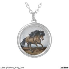 Coco Round Pendant Necklace now available!!! #horse #necklace #jewelry #gift #silver #gold #personalize