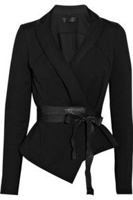 DONNA KARAN Belted structured-jersey jacket.