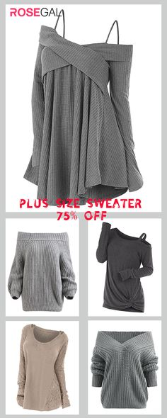 Rosegal Plus Size Grey Sweater cozy and cute fall outfits ideas tøj mode Plus Size Pullover, Plus Size Hoodies, Plus Size Sweaters, Cute Sweaters, Belted Shirt Dress, Tee Dress, Plus Size Kleidung, Cute Fall Outfits, Autumn Outfits