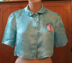 Cute 1940s Turquoise Rayon Satin Bedjacket by dandelionvintage,