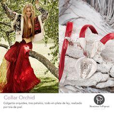 Preciosas Indigenas Collar Orchid | Colgante orquídea, tres pétalos, todo en plata de ley, realzado por tira de piel #preciosasindigenas #collares #colgante  #platadeley #estilobohochic #hechoamano #artesanal #piedraspreciosas #natural ☼ ☼ Preciosas Indígenas Joyas ☼ ☼ para descubrir nuestras joyas visita nuestra #tiendaonline http://www.preciosasindigenas.com ☼