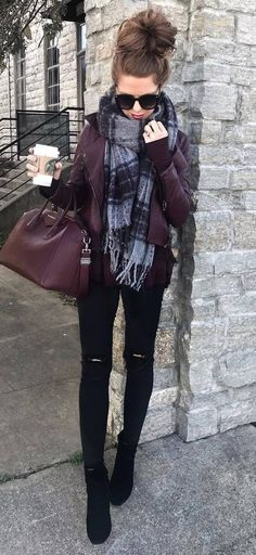 maroon and black | bomber scarf bag skinnies boots