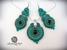 Hand embroided elegant soutache pendant and by AndreaZstyle, $75.00