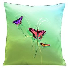 Lama Kasso 10 Butterflies Set on a Soft Green Background 18 in. Square Satin Pillow, As Shown Bunker Hill, Pattern Matching, Accent Pillows, Throw Pillows, Green Backgrounds, Pillow Covers, Butterfly, The Incredibles, Cheap Designer