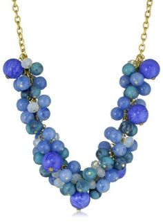 Yochi Turquoise Colored and Aqua Cluster Bead Necklace